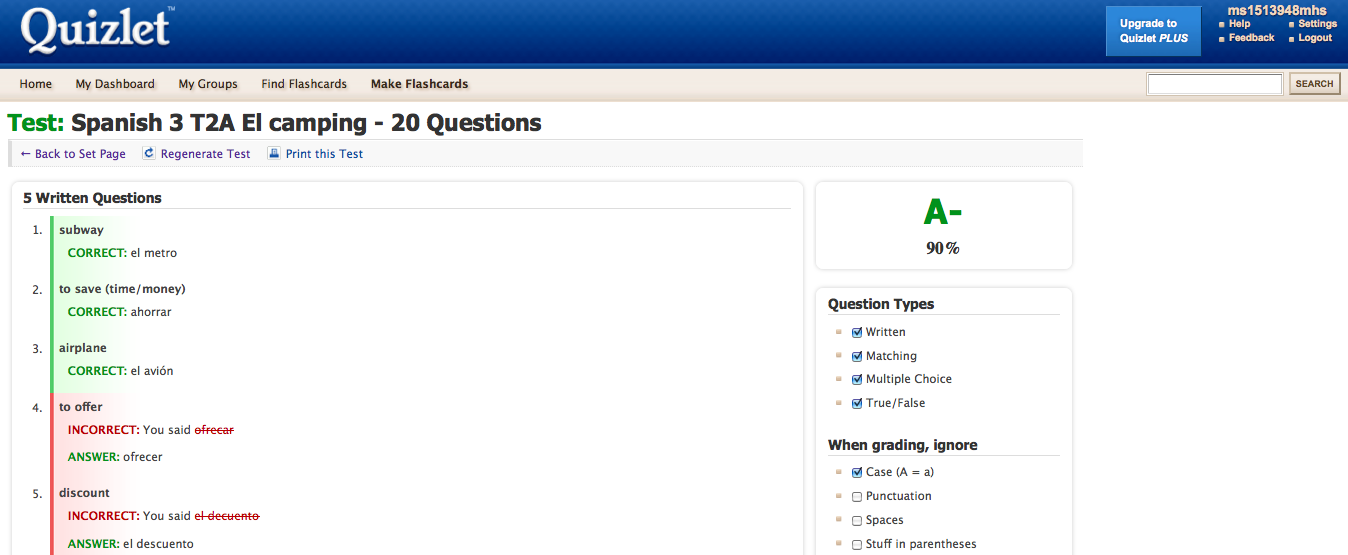 Spanish 2 Spring '11: Quizlet Test- T2A