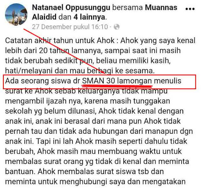 Niat Citrakan Ahok, Staf Pribadi Ahok Tercyduk , Netizen: Mana Ada SMAN 30 Lamongan?