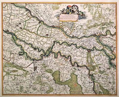 Kaart van het Kwartier van Nijmegen door Frederik de Wit, 1650
