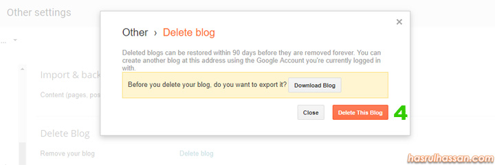 Langkah untuk padam blog