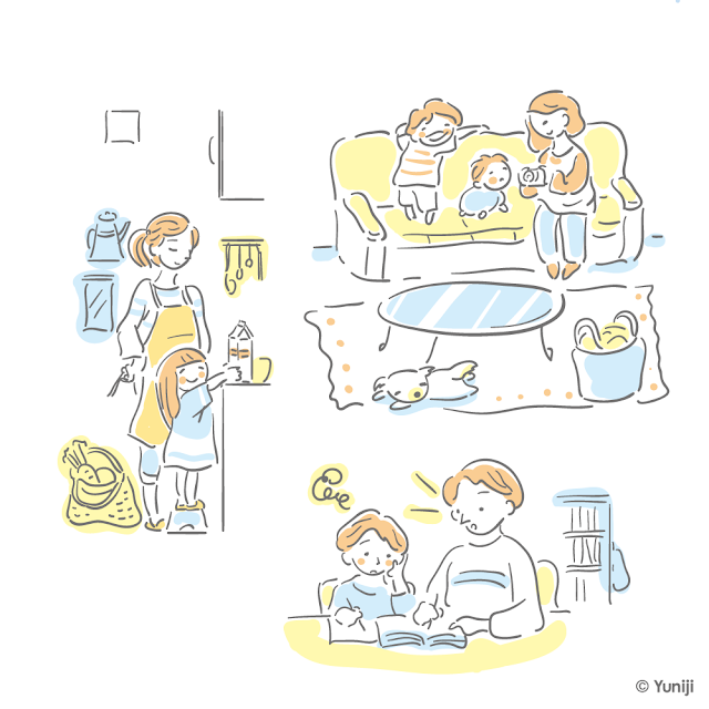 家族の生活風景を切り取ったカットイラスト