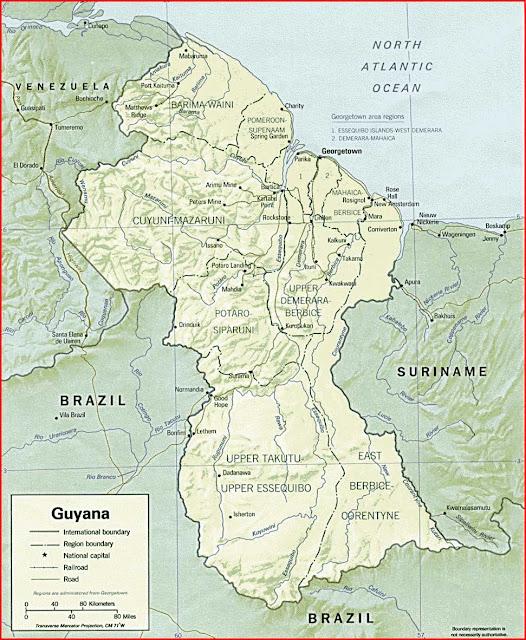Gambar Peta politik Guyana
