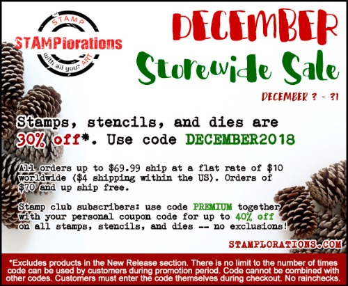 STAMPlorations December Store Wide Sale..30% off except New Releases