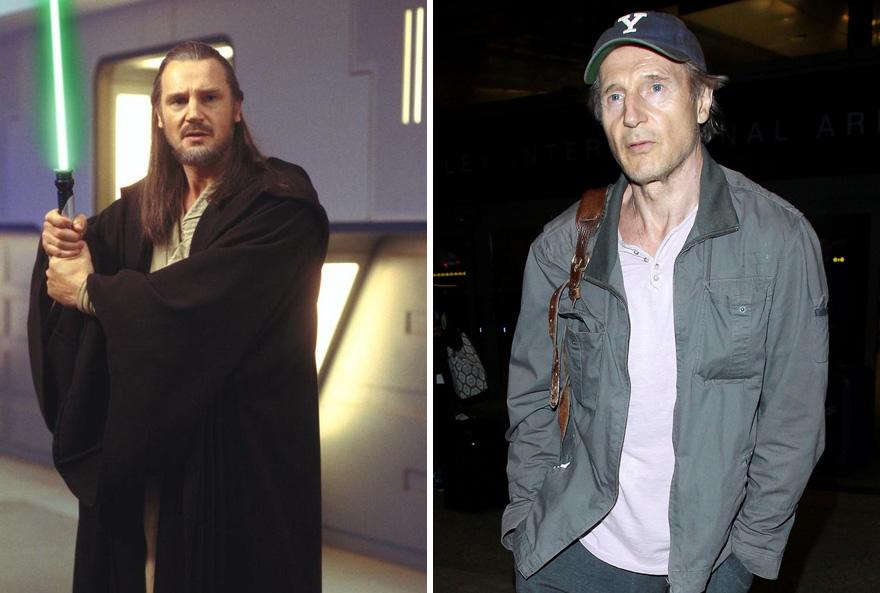Liam Neeson As Qui-Gon Jinn,1999 And 2015