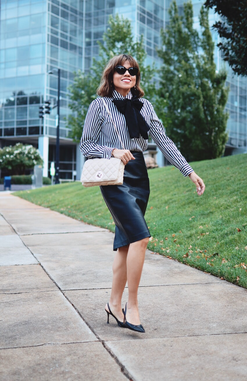 Office Outfit With Leather Skirt