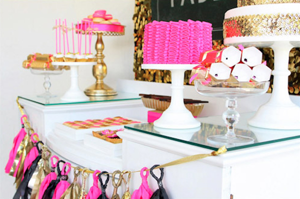 pink & gold birthday party dessert bar