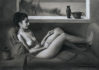 Charcoal drawing Daydreaming female model sitting on couch