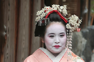 elderly Japanese Geisha as Maiko
