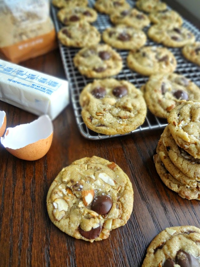 Brown Butter Brown Sugar Toasted Almond Dark Chocolate Chip Cookies with Sea Salt