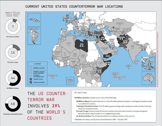 """Χάρτης των περιοχών όπου εμπλέκονται οι ΗΠΑ, στον """"πόλεμο κατά της τρομοκρατίας"""" (Πηγή: The Costs of War Project)"""