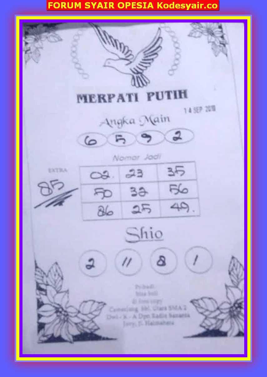 Syair hkg Sabtu 14 September 2019 12