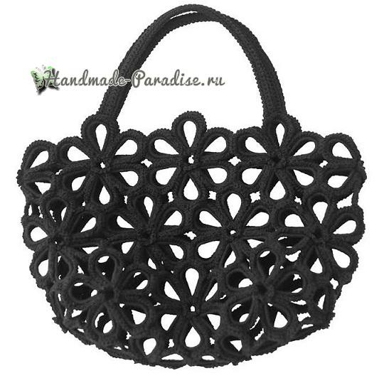 Схемы вязания крючком сумки цветочными мотивами (4)