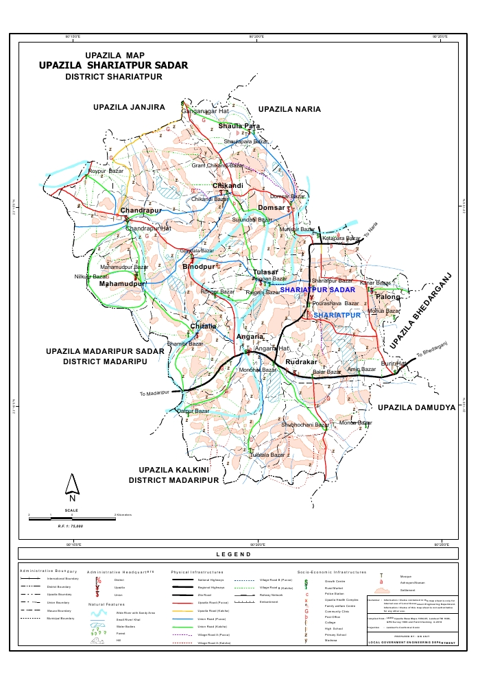 Shariatpur Sadar Upazila Map Shariatpur District Bangladesh