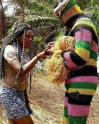 Masquerade Proposes To Girlfriend In Abia State.