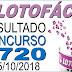 Resultado da Lotofácil concurso 1720 (05/10/2018)
