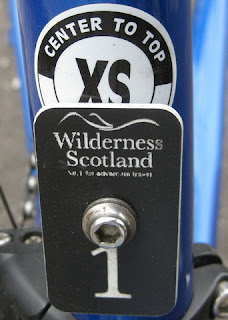 Wilderness Scotland asset tag #1 on seat tube