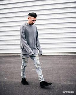 Celana ripped jeans Oye untuk cowok