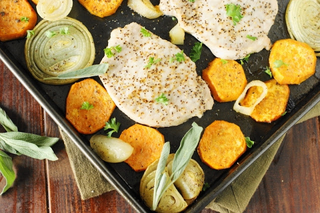 Baked Pork Chops & Sweet Potatoes Sheet Pan Supper - a tasty qui