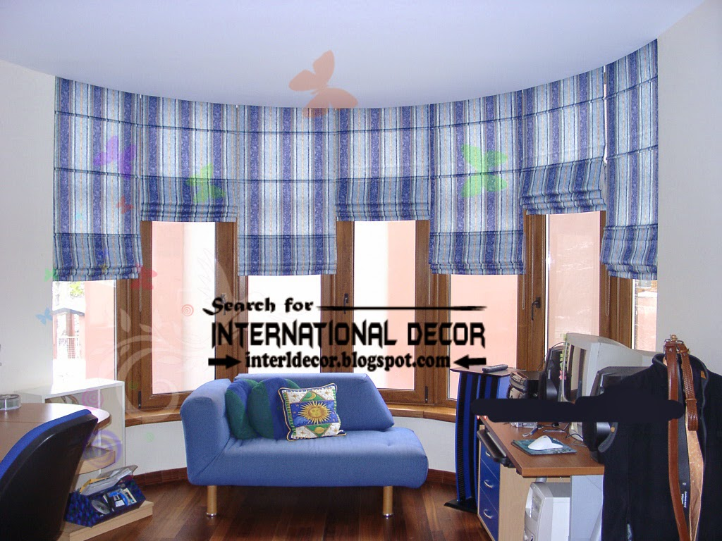 Window decorations, The best ideas for window decor, blue striped roman blinds for curved window