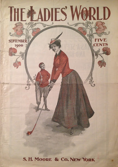 The Ladies World cover Sept 1900 depicts a lady golfer in period costume.  I was in the Olympics? marchmatron.com