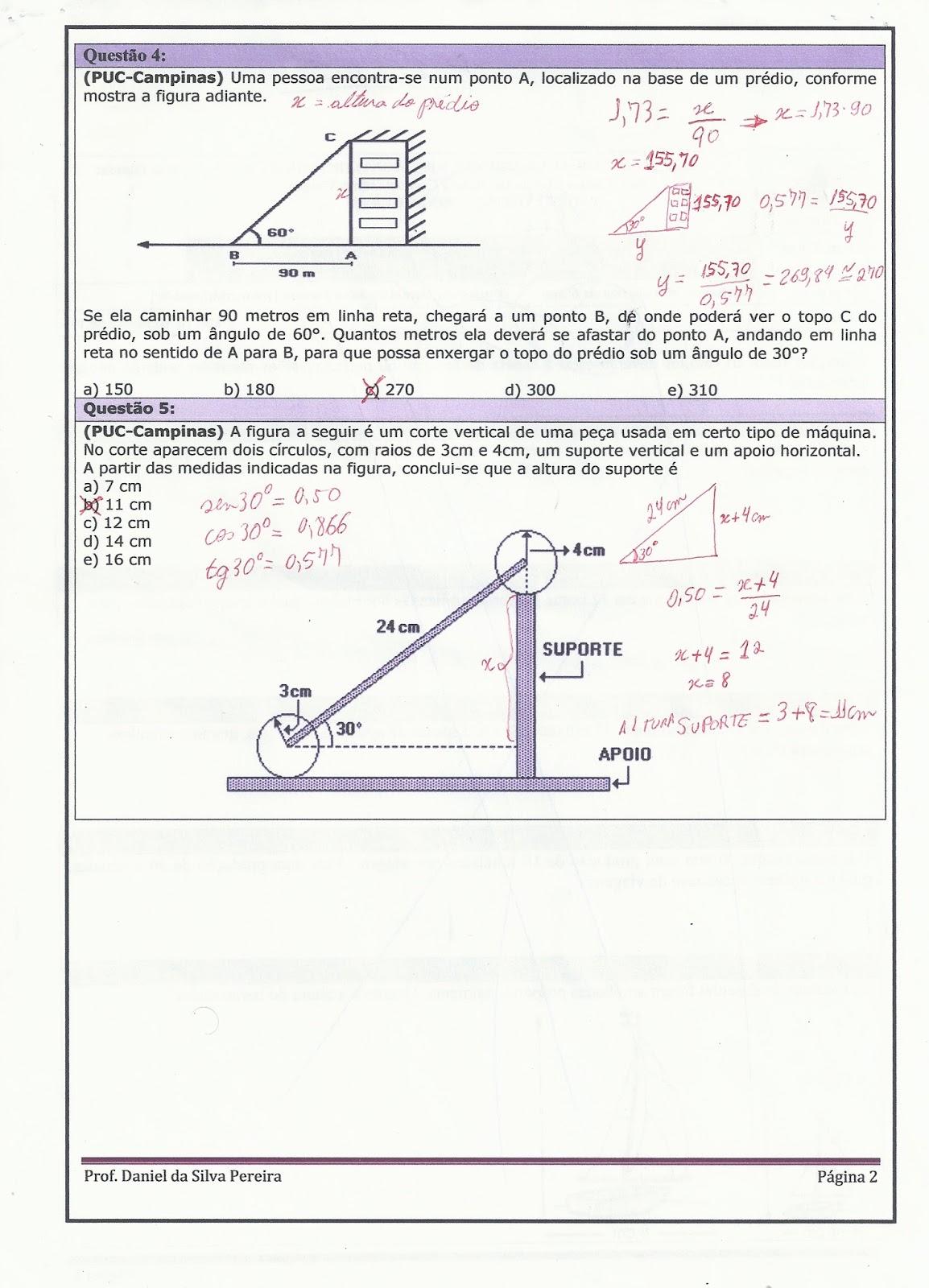 exercicios razões trigonométricas na circunferência