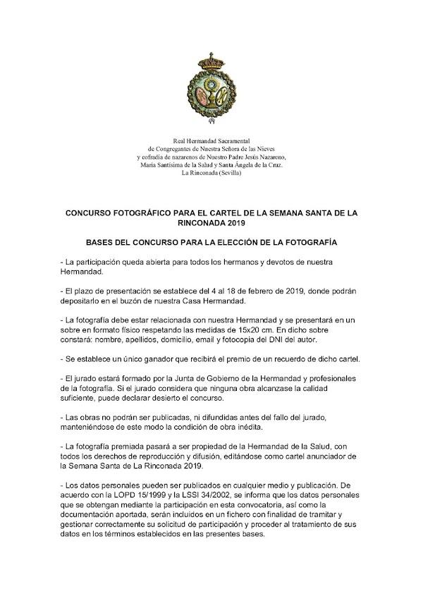 Concurso fotográfico para el cartel de la Semana Santa de La Rinconada 2019
