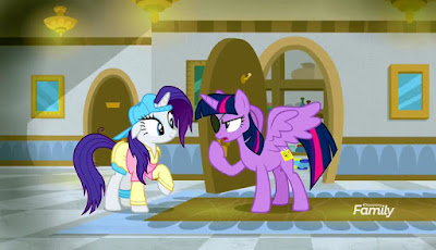 "Rarity (as ""Plainity"") and Twilight (as ""Eye Patch"") argue"