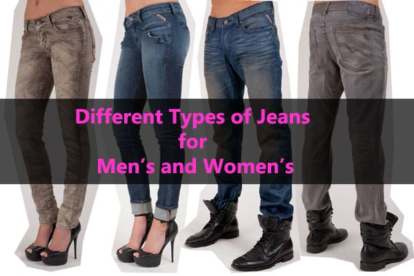 Various types of jeans for men and women