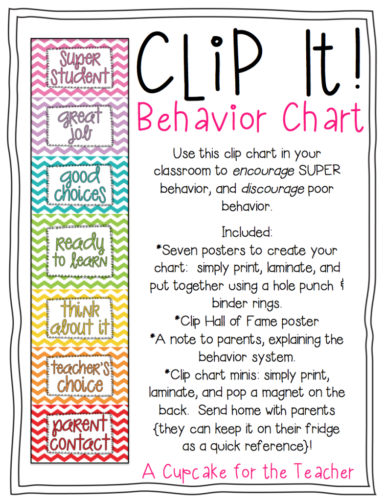 Clip It Behavior Chart A Cupcake for the Teacher – Kids Behavior Chart Template