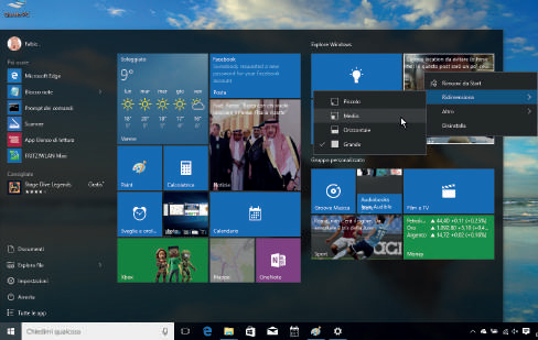 Come personalizzare dimensioni tile menu start Windows 10