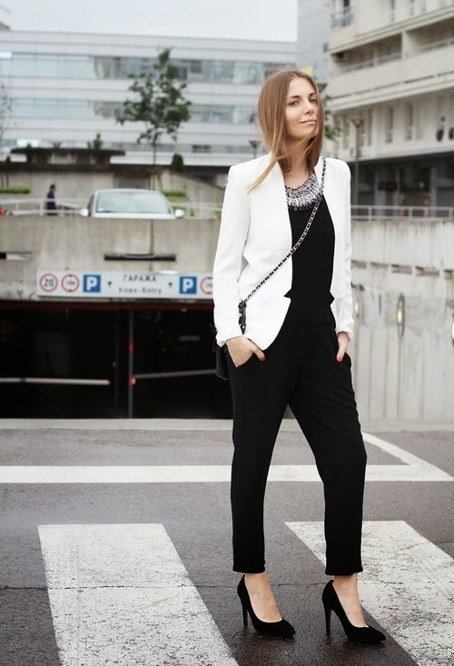 Wearing a Black Jumpsuit with White Blazer