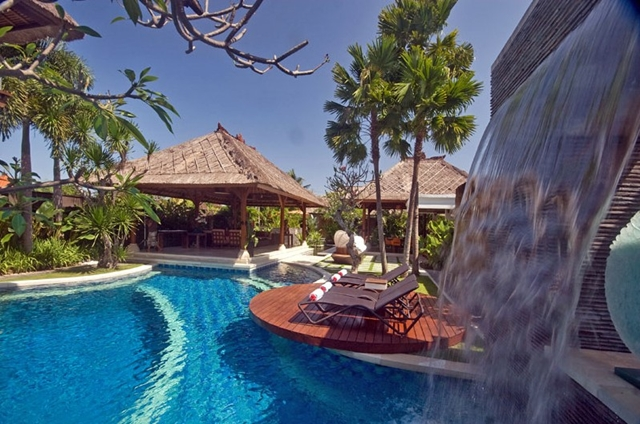 Pool in the backyard of Villa Asta, Rental Vacation Villa, Bali, waterfall and residential houses