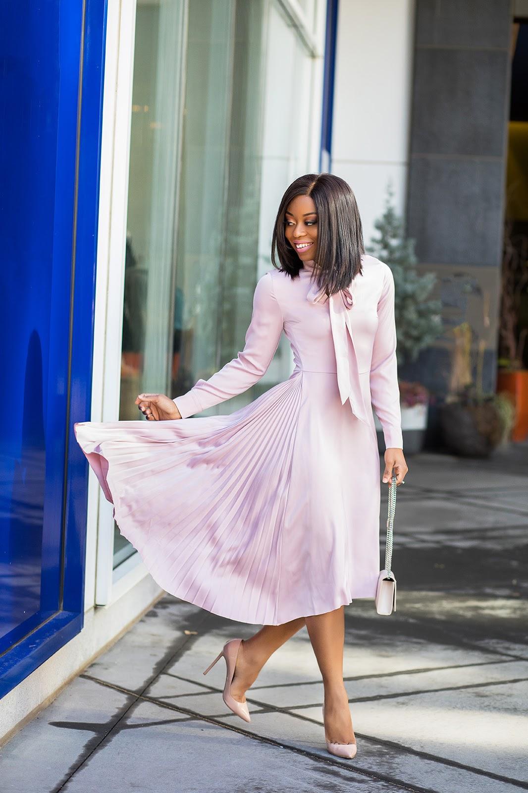 H&M satin pink dress,  www.jadore-fashion.com
