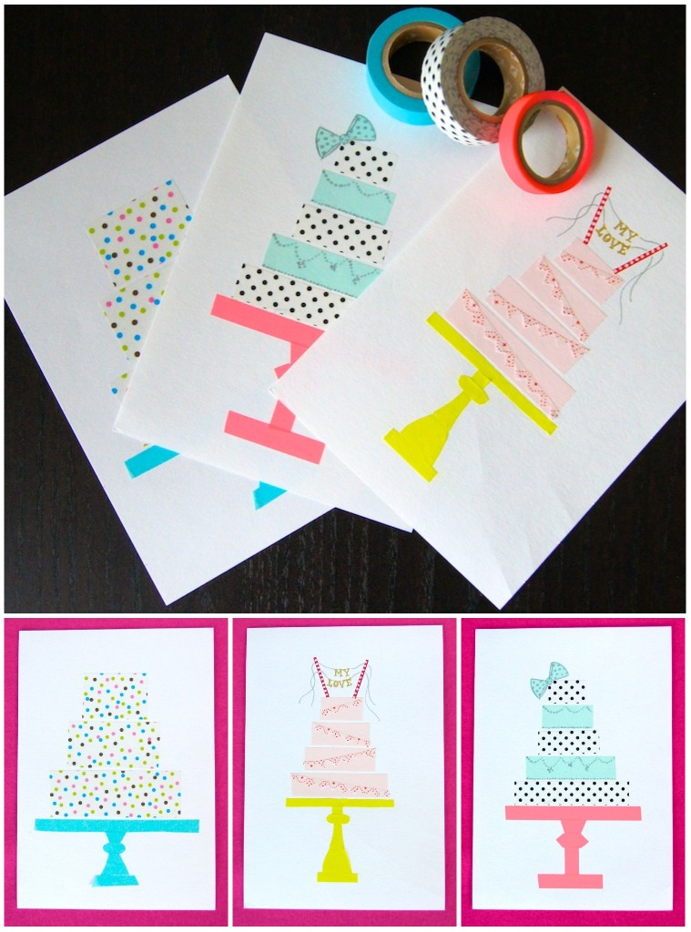 omiyage blogs diy washi tape birthday cards. Black Bedroom Furniture Sets. Home Design Ideas