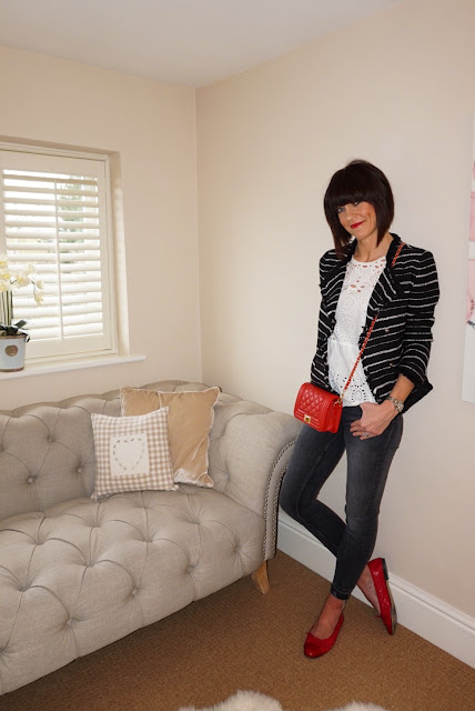 My Midlife Fashion, Mango striped monochrome boucle biker jacket, broderie top, quilted ballet pumps, leather quilted bag, mango cuff, zara mid rise skinny jeans