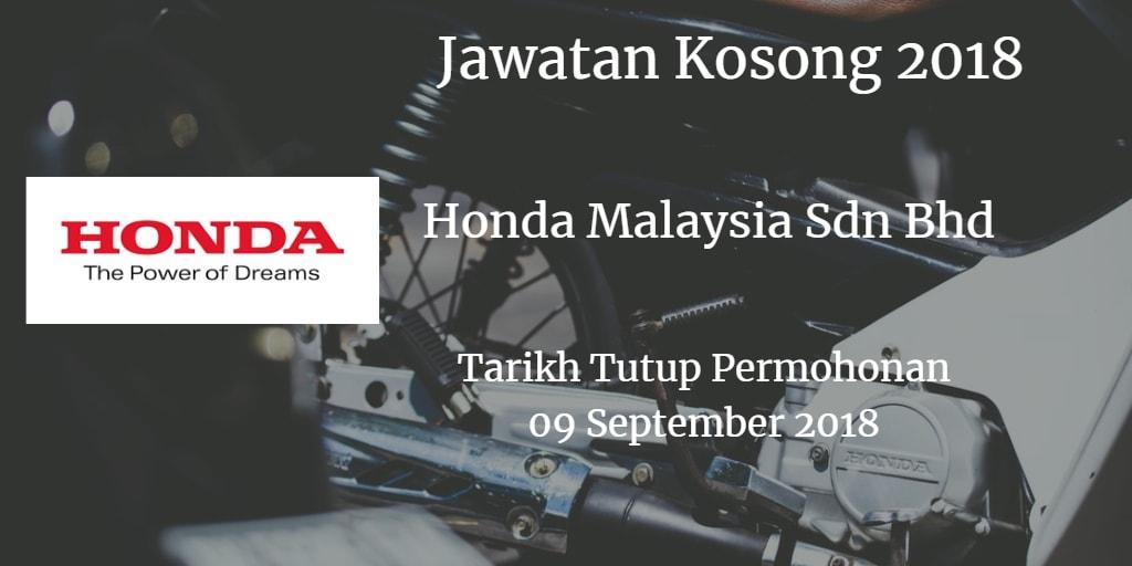 Jawatan Kosong Honda Malaysia Sdn Bhd 09 September 2018