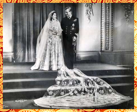 Britain's Queen Elizabeth II and Prince Philip, Duke of Edinburgh, 1947 (Royal Adorable Wedding Dress)