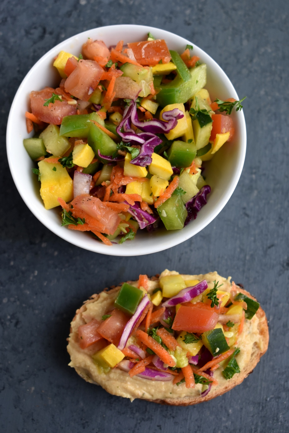 Rainbow Vegetable Hummus Toast