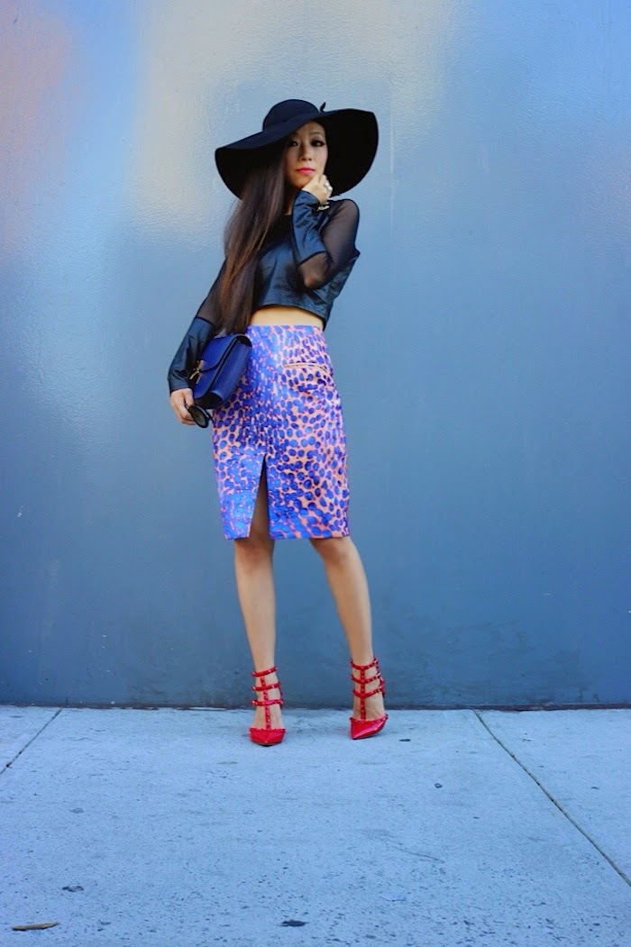 ValentinoRockstuds,CelineClassicBox,CameoReoverySkirt,CobaltLeopard,NastyGalFloppyHat,ChanelBrooch,ForLove&LemonsTop,Baublebar360pearlStuds,BaublebarPearlRing,streetstyle,nyc,shallwesasa,fashionblog,fallessentials,trends,musthaves