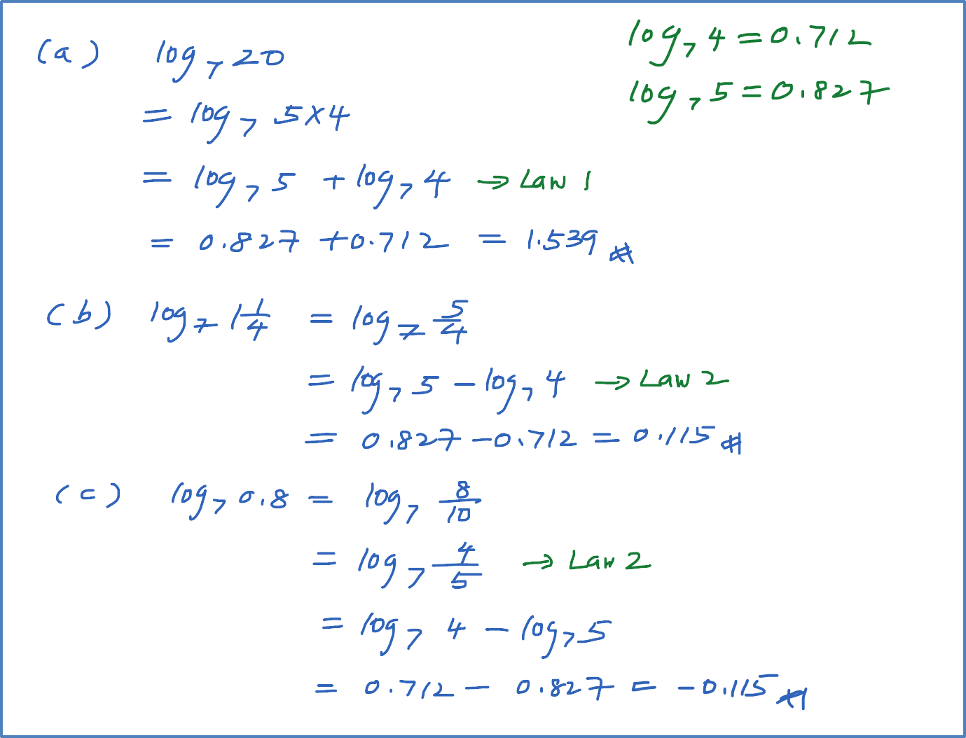 Example 3 Laws Of Logarithms