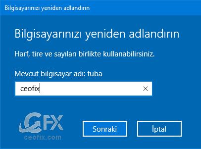 yeni bilgisayar ismi