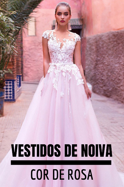 Ideias de vestido de noiva na cor rosa