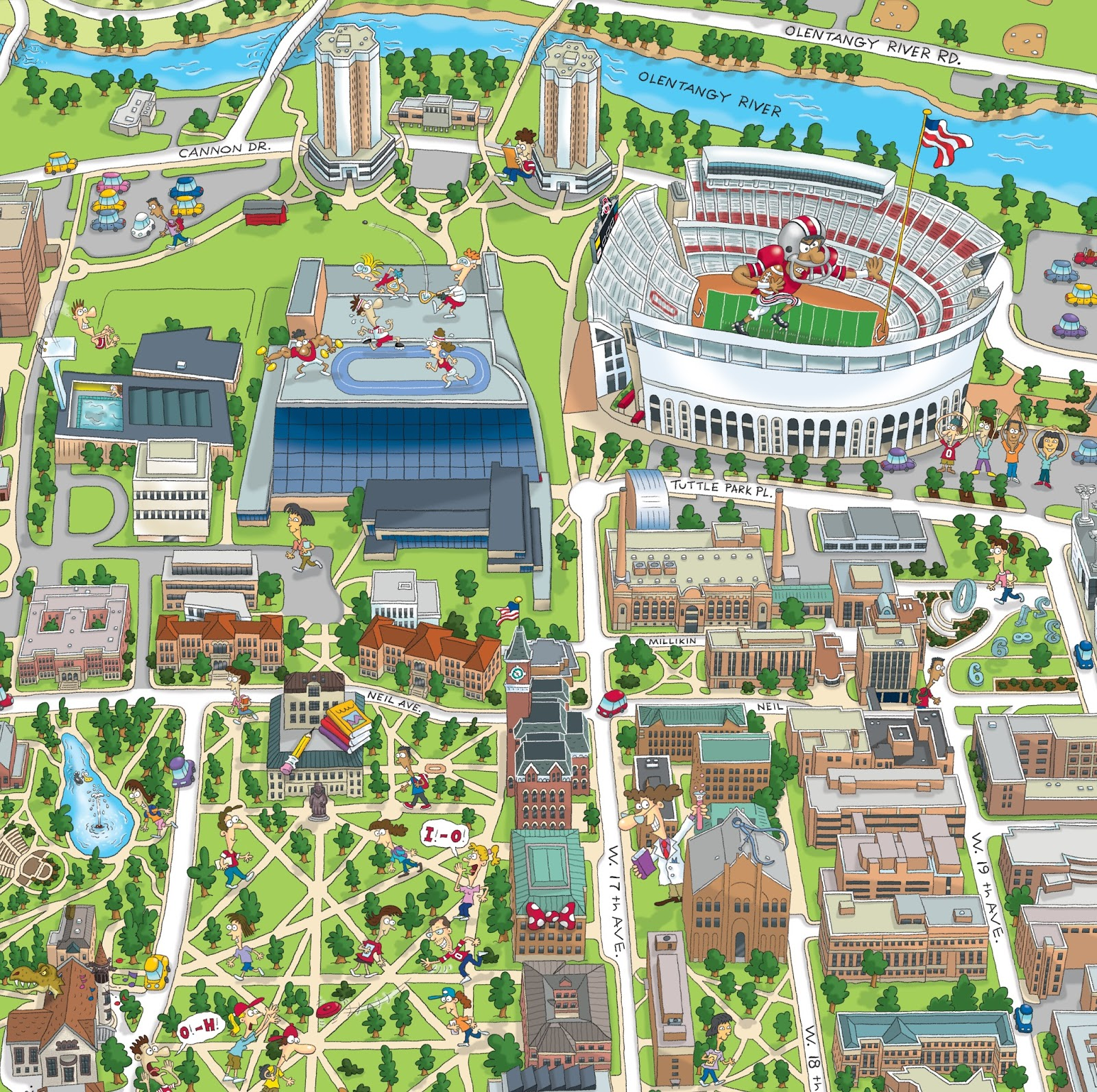 Terry Sirrell Illustration Ohio State University Cartoon Map