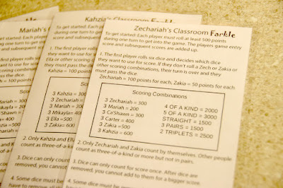 personalized Classroom Farkle instructions