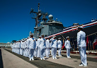 (July 18, 2013) The crew formerly assigned to the guided-missile frigate USS Reuben James (FFG 57) declare the ship as all clear during the ship's decommissioning ceremony on Joint Base Pearl Harbor-Hickam (JBPHH). USS Reuben James was the first and is the last guided-missile frigate to be homeported in Pearl Harbor. (U.S. Navy photo by Mass Communication Specialist 2nd Class Dustin W. Sisco/Released)