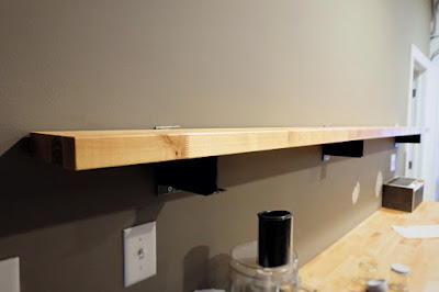 butcher block counter shelf
