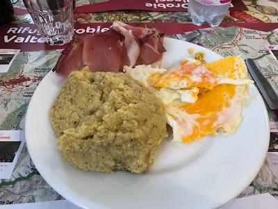 Speck, eggs and polenta at Rifugio Barone.