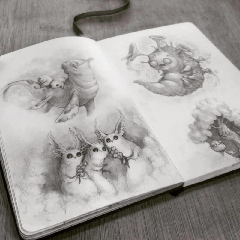 08-Stella-Bialek-Moleskine-Fantasy-Creatures-Drawings-www-designstack-co