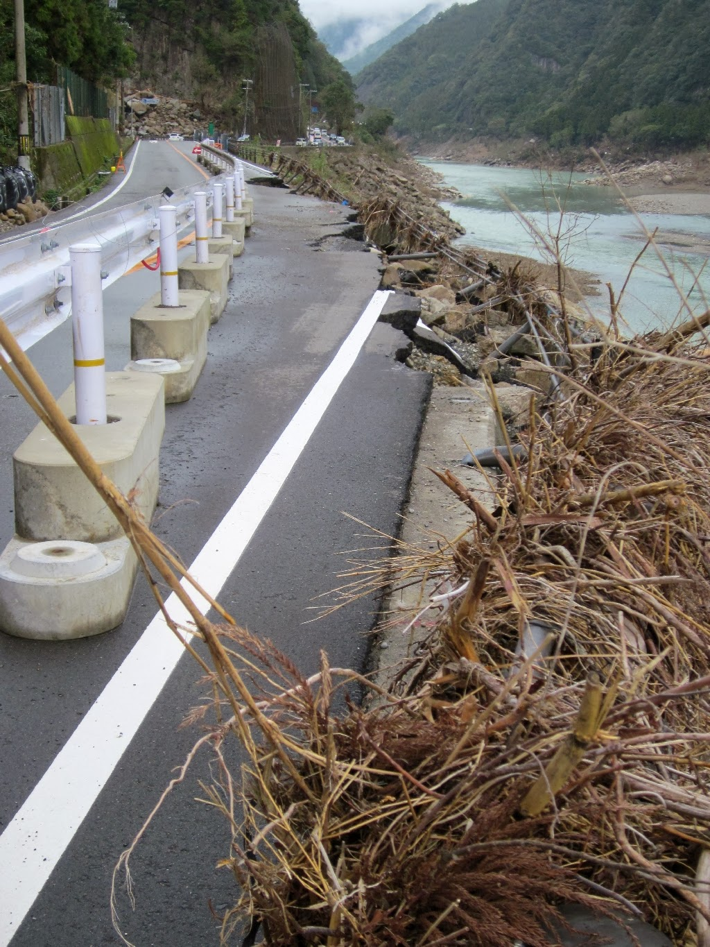 Typical road section three months after the typhoon