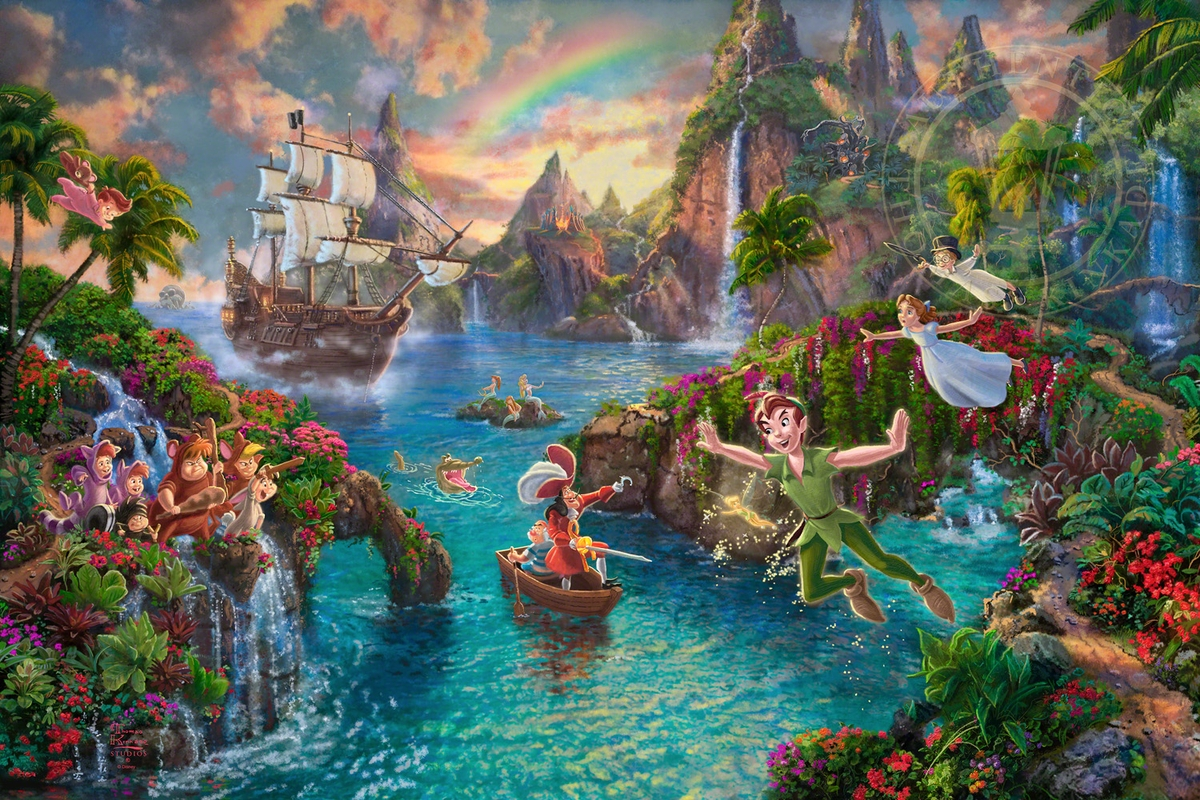 08-Peter Pan s Never Land-Thomas-Kinkade-Walt-Disney-Stories-Seen-Through-Paintings-www-designstack-co